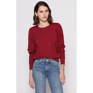 Joie Maroon Korbyn Puff Sleeve Crew Neck Sweater